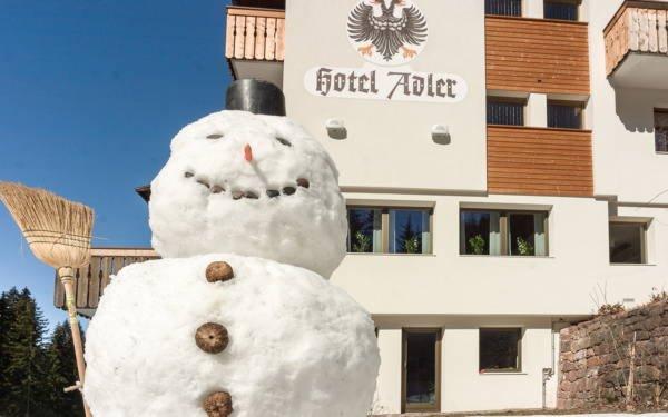 Foto Außenansicht im Winter Dolomiti Hotel Adler Carezza