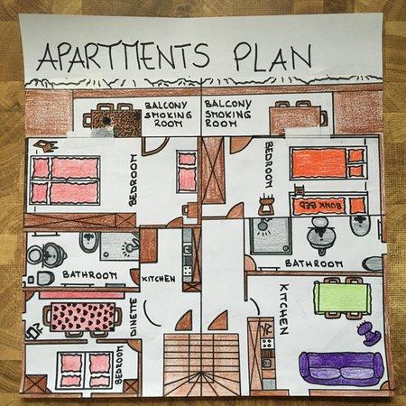 La planimetria Appartamenti in agriturismo Ciasa Rü