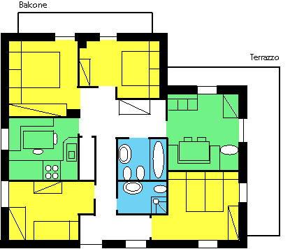Der Grundrissplan Ferienwohnungen Curnel