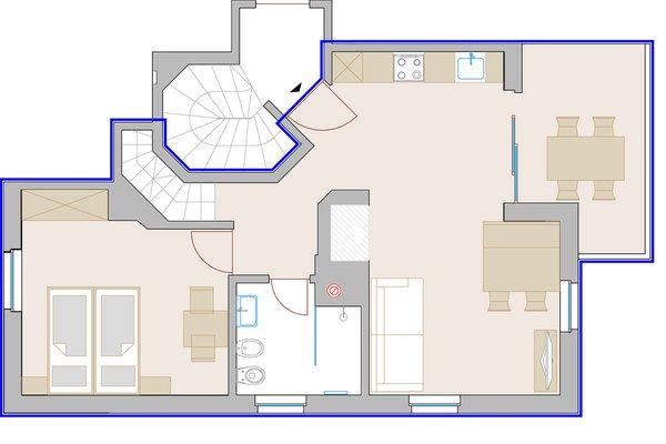 Der Grundrissplan Ferienwohnungen auf dem Bauernhof Funtnatscherhof