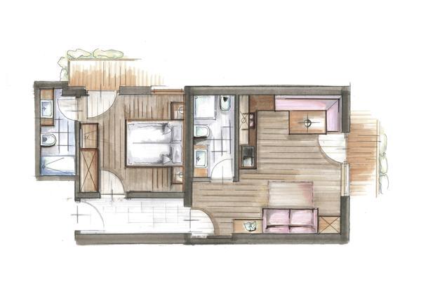 La planimetria Garni (B&B) + Appartamenti Alpenresidence