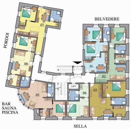 La planimetria Hotel + Residence Gonzaga