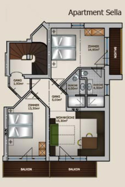 Appartamenti unterkehrhof laion val gardena for Piccole planimetrie