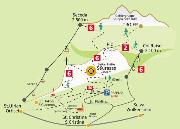 La posizione Baita Sëurasas Santa Cristina