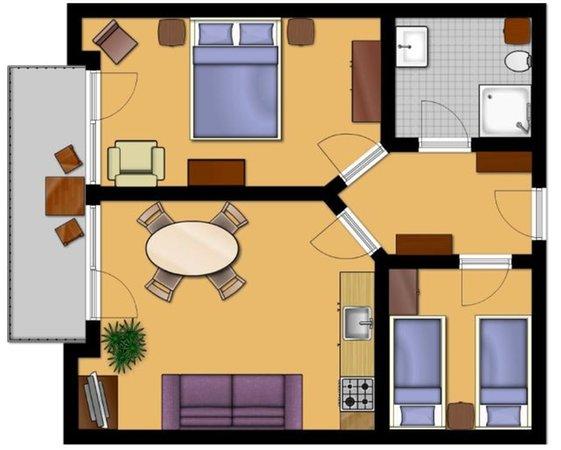 La planimetria Appartamenti in agriturismo Ganoi - Hof