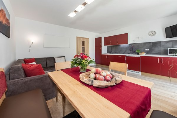 La zona giorno living Puez apartments in the dolomites