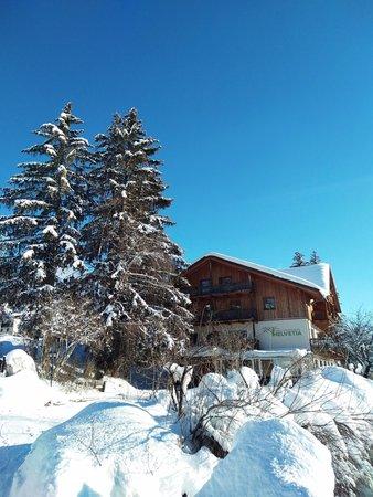 Foto esterno in inverno Garni-Appartments Helvetia