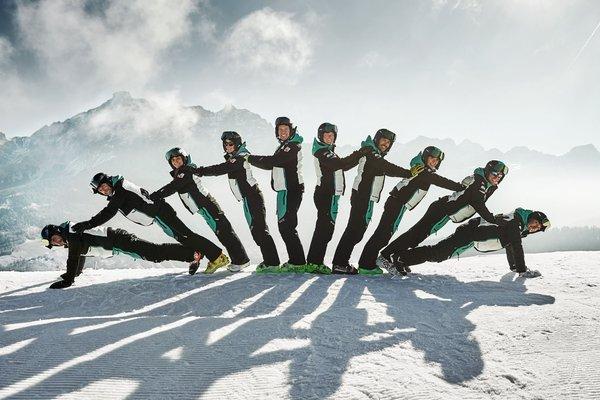 Winter presentation photo Ski and snowboard school Dolomites