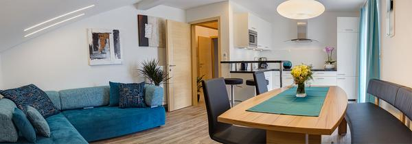 La zona giorno Appartamenti in agriturismo Sonnhof