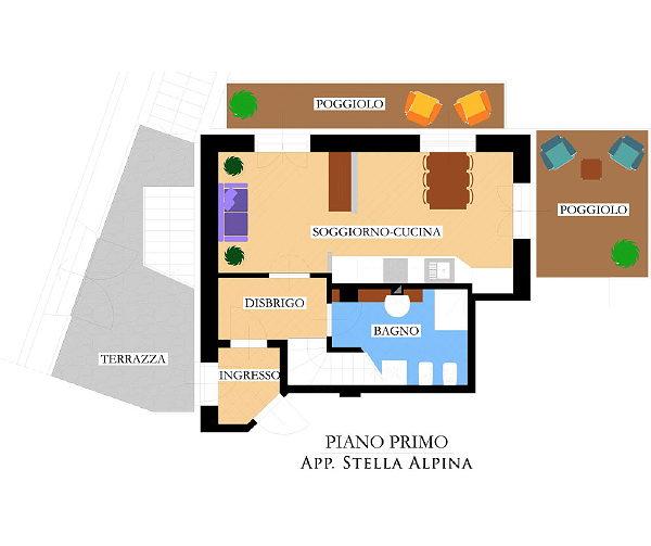 Der Grundrissplan Ferienwohnungen Villa Prafiori