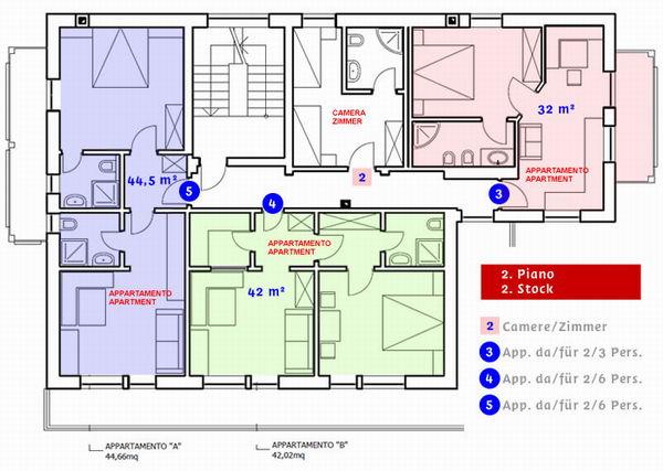 La planimetria Residence Haflingerhof