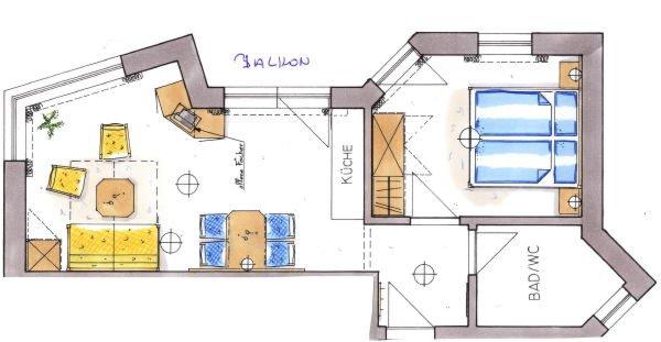 La planimetria Appartamenti Ciasa Conturines