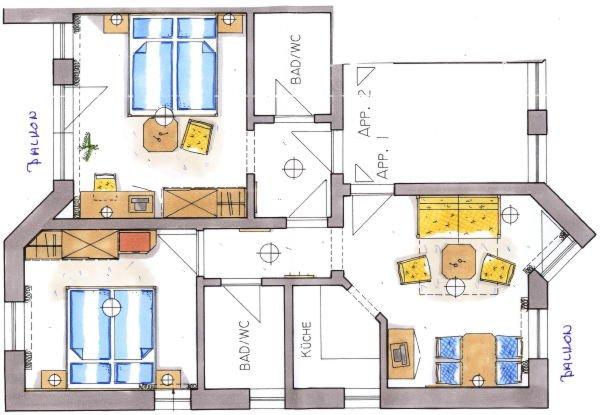 Der Grundrissplan Ferienwohnungen Ciasa Conturines