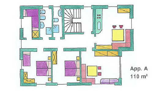 La planimetria Appartamenti Ciasa La Palsa